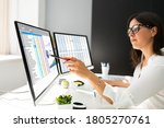 analyst working with... | Shutterstock . vector #1805270761