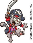 cartoon jumping pirate cat with ... | Shutterstock .eps vector #1805283757