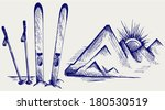 mountains and ski equipments.... | Shutterstock .eps vector #180530519