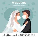 wedding quarantine. groom and...   Shutterstock .eps vector #1805340181