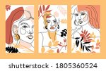 set of banners with womans face ... | Shutterstock .eps vector #1805360524