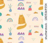 seamless pattern with cute cat... | Shutterstock .eps vector #1805369554
