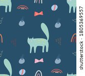 seamless pattern with cute cat... | Shutterstock .eps vector #1805369557
