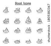 boat line icons vector...   Shutterstock .eps vector #1805382367