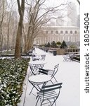 Bryant Park in Manhattan after an early morning snow. - stock photo