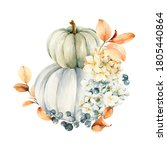 Watercolor Pumpkins Composition....