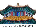 Close up view of roof structure of huilan pavilion in Zhan qiao pier Qingdao China; translation: whirling waves pavilion