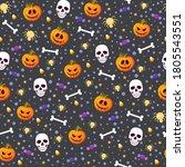 halloween pumpkin and skull... | Shutterstock .eps vector #1805543551