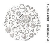 pizza sign round design...   Shutterstock .eps vector #1805590741