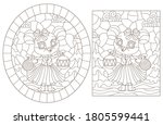set of contour illustrations in ... | Shutterstock .eps vector #1805599441
