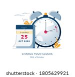 daylight saving time ends... | Shutterstock .eps vector #1805629921