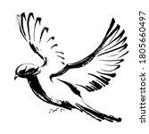 flying dove hand drawn in black ... | Shutterstock .eps vector #1805660497