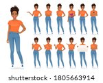 young african woman in casual... | Shutterstock .eps vector #1805663914