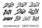 happy new year 2021. set of... | Shutterstock .eps vector #1805704414