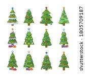 set of christmas trees. new... | Shutterstock .eps vector #1805709187