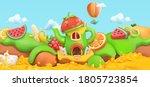 sweet fruits. cartoon landscape ... | Shutterstock .eps vector #1805723854