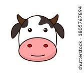 cute cow face cartoon... | Shutterstock .eps vector #1805767894
