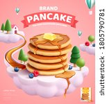 pancake mix ads with butter and ... | Shutterstock .eps vector #1805790781