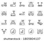 Wifi Router Line Icon Set....