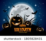 halloween poster  creepy night  ... | Shutterstock .eps vector #1805828431