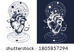 magic heart in space tattoo.... | Shutterstock .eps vector #1805857294