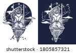 girl on swing flies to sky... | Shutterstock .eps vector #1805857321