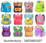 colored school backpack.... | Shutterstock .eps vector #1805883307