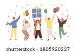group of happy people raising... | Shutterstock .eps vector #1805920237