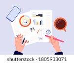financial report. hands writing ...   Shutterstock .eps vector #1805933071