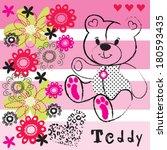 cute teddy bear with flowers... | Shutterstock .eps vector #180593435