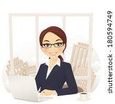 businesswoman in office  | Shutterstock .eps vector #180594749