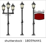 metallic street lamppost with... | Shutterstock .eps vector #180596441