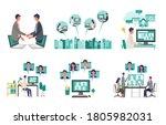 telecommuting concept. vector... | Shutterstock .eps vector #1805982031