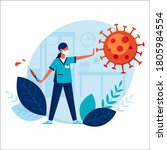 doctor threatens virus with... | Shutterstock . vector #1805984554