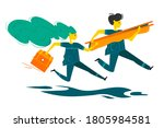 two paramedics rush to rescue.... | Shutterstock . vector #1805984581
