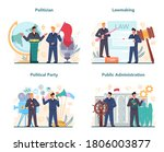 Politician concept set. Idea of election and governement. Democratic governance. Political party, lawmaking, public administration. Isolated flat illustration