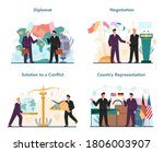 diplomat profession set. idea... | Shutterstock .eps vector #1806003907