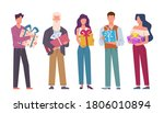 happy people with gifts.... | Shutterstock .eps vector #1806010894