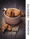 chocolate chip cookies in a tea ... | Shutterstock . vector #180601721