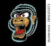 gorilla head vintage tattoo... | Shutterstock .eps vector #1806101071