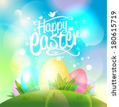 Happy Easter Design With Eggs...