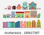 colorful house and building... | Shutterstock .eps vector #180617387