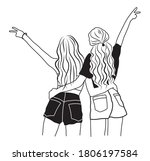 two best friends hugging with... | Shutterstock .eps vector #1806197584