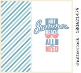 retro elements for summer... | Shutterstock .eps vector #180621479