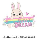 hand drawn cute rabbit and... | Shutterstock .eps vector #1806257674