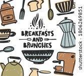 breakfast and brunches hand... | Shutterstock .eps vector #1806269851