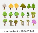 Trees Set   Vector Illustration