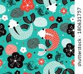 seamless koi carp sushi fish... | Shutterstock .eps vector #180631757