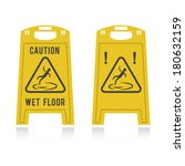 caution wet floor  | Shutterstock .eps vector #180632159