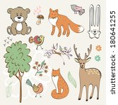set of wild animals. hand drawn ... | Shutterstock .eps vector #180641255